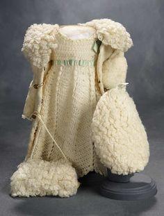 """What Finespun Threads"" - Antique Doll Costumes, 1840-1925 - March 12, 2017: 251 Cream Knit and Plush Ensemble with Aqua Silk Trim"