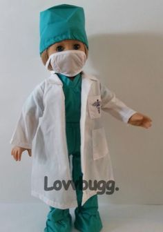 "Green Scrubs + Lab Coat Nurse Doctor for 18"" American Girl Doll & THAT DISCOUNT!"