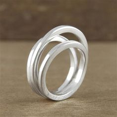Bella & Beau Sterling Silver Solid Triple Coil Ring, Choose Size