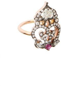 #Montaigne Market         #ring                     #Sabine #pink #gold, #white #diamonds #ruby #phalanx #ring                    Sabine G pink gold, white diamonds and ruby phalanx ring                                                http://www.seapai.com/product.aspx?PID=256905