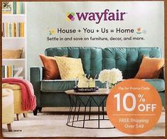 Wayfair.com 10% Off Coupon (Exp 10/31/20)_Fast Delivery!... 10 Off, Coupon Codes, Coupons, Delivery, House, Furniture, Home Decor, Decoration Home, Coupon
