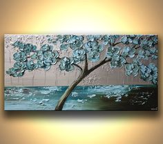 "Blooming Tree Painting Teal, Blue, Silver Original Abstract Modern Fine Art Textured Landscape by Osnat - MADE-TO-ORDER - 48""x24"""