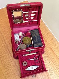 RARE Antique Sewing Box with Accessories | eBay