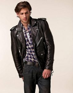 Black leather biker jacket and blue shirt | Hell-bent for leather