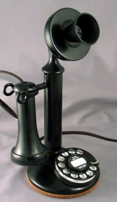 Candlestick phone with rotary dial. Telephone Retro, Retro Phone, Retro Vintage, Vintage Items, Antique Phone, Vintage Phones, Old Phone, The Good Old Days, Candlesticks