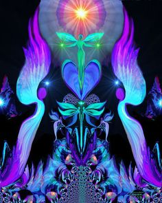 "Twin Flames, Chakra Art, Purple Wall Decor, Reiki Healing Energy ""Angels and Dragonflies"""