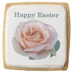 Pink Rose Easter Square Sugar Cookie