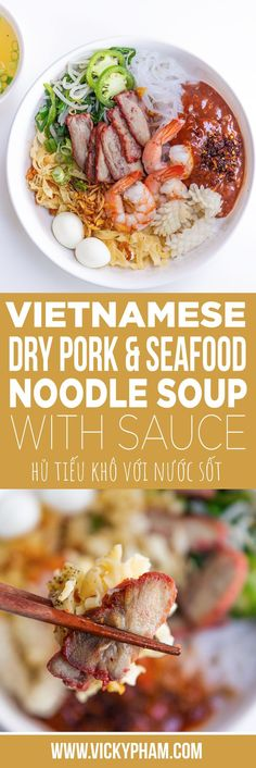 Dry Vietnamese Pork & Seafood Noodle Soup with Sauce (Hu Tieu Kho Voi Nuoc Sot) — Vietnamese Home Cooking Recipes - Food: Veggie tables Vietnamese Pork, Vietnamese Recipes, Asian Recipes, Vietnamese Noodle, Pork Recipes, Vietnamese Cuisine, Game Recipes, Healthy Eating Tips, Healthy Recipes