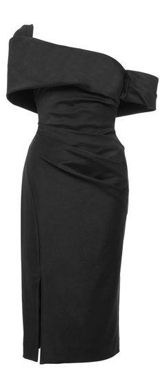 Haney | Off-the-Shoulder Asymmetric Midi Dress