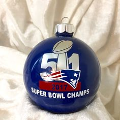 74816ac748c New England Patriots 2017 Super Bowl Champions Round Blue Glass Ornament by  TmangsTreasures on Etsy Patriots