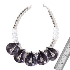 White Austrian Crystal and Simulated Pearl Black Lily Floral BIB Necklace (Size 20 with 2 inch Extender) in Silver Tone