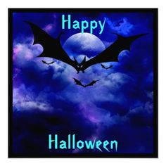 Cobalt Blue Sky Bats Halloween Party Invitation Fully customizable Bright Cobalt blue eerie sky with full moon and bats on front, witch on back, Halloween Party Invitation - Costume Party fun for everyone. Holiday Invitations, Halloween Party Invitations, Halloween Bats, Happy Halloween, Anime Fantasy, Best Part Of Me, Cobalt Blue, White Envelopes, Paper Texture