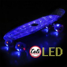 CALI Strong LED Light Skateboard with LED Light Wheels brings the retro back. A banana board with a rechargeable LED illuminated deck. Penny Skateboard, Skateboard Wheels, Different Light, Power Led, Skateboards, Aluminium Alloy, Cali, Penny Boards, Strong