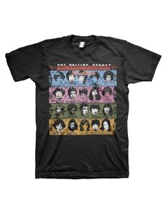 The Rolling Stones Some Girls Mens T-Shirt - This black mens t-shirt features artwork from The Rolling Stones Some Girls album cover printed on its front.