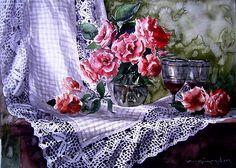 Odamda güz gülleri Dışarda yalancı bahar...  suluboya...44x33 cm.
