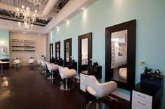 Our very chic hairstyling stations.