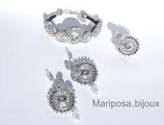 "Mod.""Asia Silver"" Parure realizzata con Cabochon Swarovski Crystal.Strass Crystal.Perle Argento.Soutache Argento Lurex"