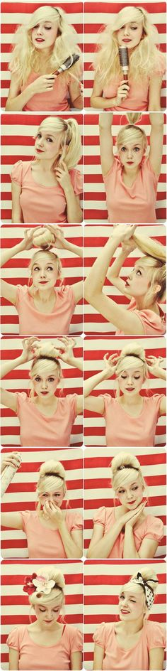 coiffure pin up, tuto utile comment se faire chignon pin up - Einfache Frisuren Cabello Pin Up, 50s Hairstyles, Wedding Hairstyles, 50s Hairdos, Easy Vintage Hairstyles, Long Haircuts, Peinados Pin Up, Corte Y Color, Pin Up Hair