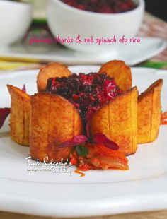 Plantain Shards with Red Spinach Efo Riro...  I love to explore new things, new food ingredients, new techniques, and such and such.....that is just the way I am...!  Discover something new and different... championing the #newnigeriancuisine  http://funke-koleosho.blogspot.co.uk/2016/09/plantain-shards-with-red-spinach-efo.html