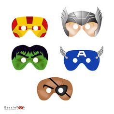 8 SUPERHERO MASKS printable .pdf files. Craft by BessiePooh
