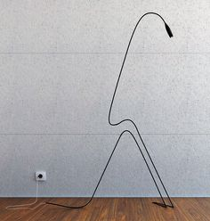 """Linear """"Flamingo"""" floor standing reading light by Aibek Almasov. A squiggle in… Lite Brite, Cool Lighting, Modern Lighting, Lighting Design, Design Light, Lamp Design, Luminaire Applique, Industrial Light Fixtures, Industrial Lighting"""