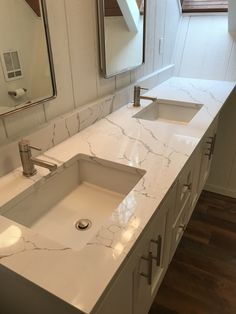 Gorgeous Calacatta Laza Quartz Counters! With Custom White Painted Floating  Cabinets.