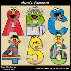 Números y letras del alfabeto calle sésamo Clip arte gráfica