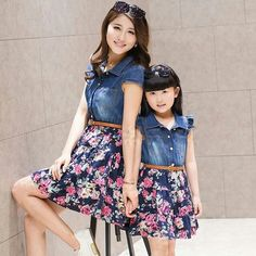 2016 summer style family look matching mother daughter dresses clothes mom and daughter dress girls jean dress flower clothing Mother Daughter Matching Outfits, Mother Daughter Fashion, Mommy And Me Outfits, Matching Family Outfits, Kids Outfits, Fashion Kids, Denim Fashion, Fashion Outfits, Korean Fashion