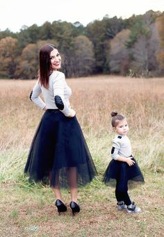 Black skirt, Mommy and Me matching skirts