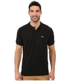Lacoste L1212 Classic Pique Polo Shirt (Black) Men's Short Sleeve Knit