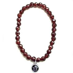 Silver Lotus Garnet Yoga Bracelet - simple beaded yoga jewelry, January birthstone jewelry