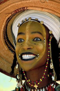 At the end of the rainy season in September, Wodaabe clans gather in several traditional locations before the beginning of their dry season . We Are The World, My People, People Around The World, Skin Girl, African Tribes, White Eyes, African Culture, African Beauty, World Cultures