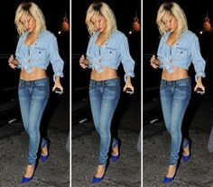 TREND: Double Denim - does RiRi's ensemble make you want to try this?