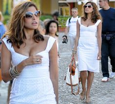 Eva Mendes white summer cocktail dress with nude shoes.