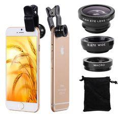 Universal 3in1 Clip Fish Eye Smartphone Camera Lens Wide Angle Macro Mobile Phone Lens For IPhone 7 6 5 4 Smart Phones Fisheye