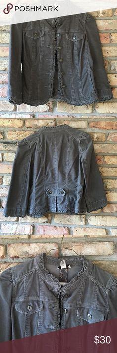 Corduroy blazer Gray Loft Corduroy blazer, mandarin ruffle collar.  Great with jeans and boots! LOFT Jackets & Coats Blazers