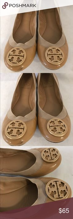 Tory Burch ballet flat shoes size 6.5 Very nice comfortable shoes that has some used with stubborn dirt/stain/scuffs noted on one pair side of the shoes but not really look bad in person as is seat on the bottom corner ,overall a must have shoes. Tory Burch Shoes Flats & Loafers