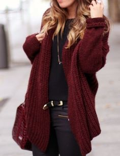 gorgeous wine color... Love the sweater!