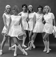 old school tennis outfits and gear. white ~ dresses ~ pleats ~ racquets ~ bobs ~ bright & beautiful.