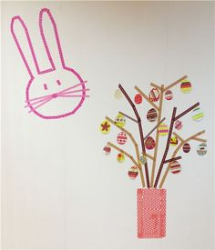 Washi Tape Easter Tree with Eggs & Bunny #washi #diy #crafts