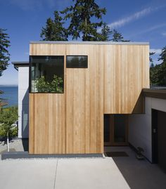 Staggering Useful Ideas: Bedroom Roofing Design roofing structure plan.Roofing Architecture Barns old tin roofing.Shed Roofing Portico. Cedar Siding, Wood Siding, Cedar Cladding, House Cladding, Exterior Cladding, Vertical Siding, Waterfront Homes For Sale, Roof Architecture, Minimalist Architecture