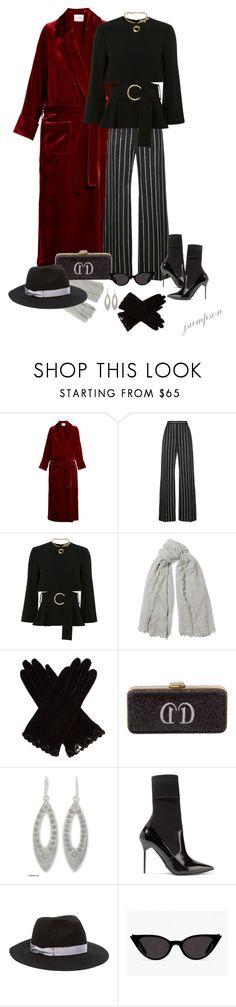 """Racil Windsor tie-waist velvet robe"" by shadedlady ❤ liked on Polyvore featuring Racil, Balenciaga, Chan Luu, AGNELLE, Judith Leiber, NOVICA, Burberry and Genie by Eugenia Kim"