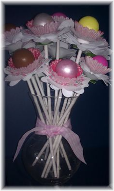 Add a Cake Pop to the center of these Martha Stewart Cup Liners Flowers.  Check my blog for more ideas!