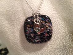 Fused glass dichroic black pendant with by fusedglassbyjemima, $20.00