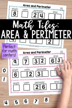 Area and Perimeter Math Tiles! This math center activates critical thinking and problem-solving skills, all while developing algebraic thinking. Students must place 10 number tiles (0-9) on the Time to Tile cards in order to correctly complete the area and perimeter problems.