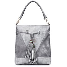 Yoins Grey Leather-look Embroidered Tassel Shoulder Bag with... ($34) ❤ liked on Polyvore featuring bags, handbags, shoulder bags, yoins, grey, embroidered handbags, grey shoulder bag, vegan purses, shoulder handbags and shoulder hand bags
