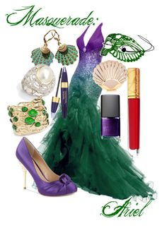 Ariel Masquerade by kmacleod on Polyvore featuring polyvore, fashion, style, Paris Hilton, Coast, GUESS by Marciano, Judith Ripka, Rosita Bonita, Estée Lauder, NARS Cosmetics, Masquerade and clothing