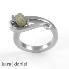 raw diamond  ~ channel-set in stainless scroll ring by kara   daniel, via Flickr
