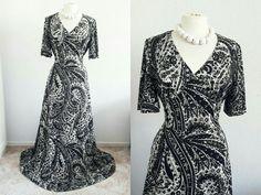 Vintage Paisley Print Tea Dress Eu 40 42 Uk 12 14 Retro Black & White Maxi