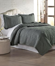Look what I found on #zulily! Charcoal Embroidered Quilt Set #zulilyfinds